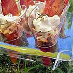 Verrines aux poivrons ,mousse de chorizo ,chantilly au chévre et sa chips de chorizo