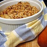 """recette Crumble de butternut rôtie à l'huile d'argan """"saveur tajine"""" au chèvre, miel et amandes"""
