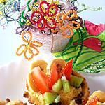 recette Paniers en cookie, mousse de mangue et morceaux de fruits