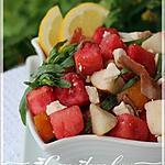 Salade de melon d'eau, féta et poires