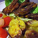 recette Côtes d'agneau  ...sur son lit douillé de p.d.terre... à la Kapiluka....Un vrai délice....