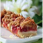 recette Carrés à la rhubarbe et aux fraises