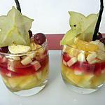 recette Verrines de fruits exotiques au sirop de roses