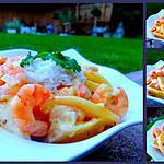 recette Curry de crevettes, mangue et lait de coco... au wok !