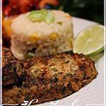 recette Côtelettes de porc au cumin sur riz de maïs
