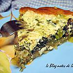 recette Quiche aux champignons, asperges, épinards et mozarella, sur fond de pâte à croissant