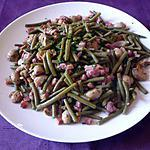 recette Poêlée haricots/lardons/champignons/jambon