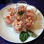 Verrines tomates cerise/crevettes