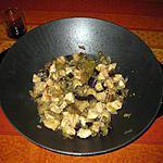 recette Fricassée de poulet et d'aubergines sucré salé