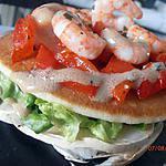 recette champignons de paris crus en salade, tartelettes aux poivrons confits et crevettes