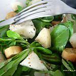 recette mâche au gorgonzola et petits cubes de poires