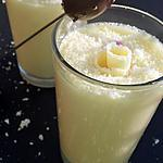 Mousse au chocolat blanc et au mascarpone à la noix de coco