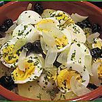 Morue au four avec oeufs, oignons, pommes de terre et olives (recette Portugaise)