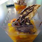 recette Verrine pêche, nutella, cookies