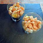 recette Crevettes au miel sur lit de pêches