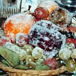 recette Plateau de fruits givrés (garniture de centre de table pour les fêtes) mais se mangent aussi après !