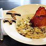 recette Farfalle aux champignons, chips de jambon cru de la Forêt-Noire