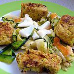 """recette Assiette végétarienne : """"Galettes"""" de pois chiches et Carpaccio de légumes"""