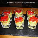recette RILLETES DE CRABE AU CURRY AVOCATS POIVRONS