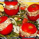 recette Salade de Haricots Verts & Tomates farcies aux rillettes de Thon
