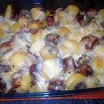 recette Gratin aux saucisses et Morbier
