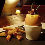 recette Oeufs brouillés en coquille aux morilles et magret séché...