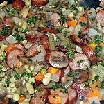 recette Macédoine de légumes aux saucisses fumées ou au lard fumé