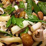 recette poêlée d´asperges, champignons et pois gourmands