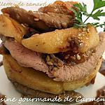 recette Aiguillettes de canard poêlées aux pommes et abricots