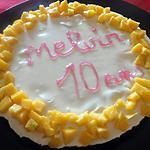 recette cheesecake spéculos-chocolat blanc-mangue (pour les 10 ans de mon fils Melvin)