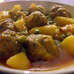 """recette """" Guisado de albondigas...."""" Râgout de p.d.terre..P.Pois et boulettes de viande..."""