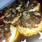 recette Pizza de noel au confit d'oignons cépes et foie gras