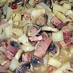 recette Poëlée avec mes restes de jambon et champignons