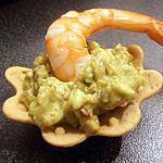 recette tartelette guacamole-crevette (apéro de noël)