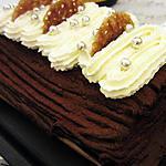 recette Bûche aux marrons, chocolat et praliné croustillant