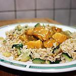 recette Emincé de poulet au curry, riz express aux courgettes