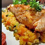 recette Saumon et lentilles corail au lait de coco