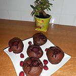 recette Muffins, chocolat, framboises.