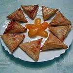 recette Samoussas farcis aux abricots et à la poudre d'amande.