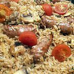 recette riz poêlé aux chipolatas