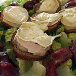 """recette """" Salade fraîcheur de gésiers de canard confits et  toasts au chèvre..."""""""