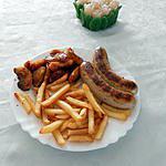recette Boudins blancs truffés,pommes caramélisées et frites au four.