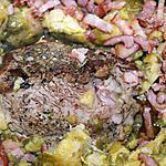 recette Roti de porc aux choux de Bruxelles et lardons