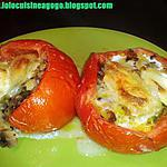 Tomates farcies aux légumes grillés et top de chèvre (diététique)