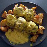 """recette """"Albondigas salsa de Azafran....con Patatas...""""..( Boulettes de viande .... à la crème  et P.D.Terre sautées....)"""