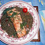 recette Pavés de saumon sur lentilles vertes