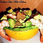 recette Salade de pamplemousse, avocat & crevettes