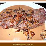 recette Faux-filet aux champignons sauce Porto