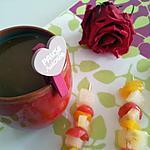 recette Pause sucré valentin improviser (fondue au nutella et ses brochettes de fruits )