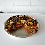 recette Pizza au boeuf haché, poivrons, champignons, mozza et chèvre.